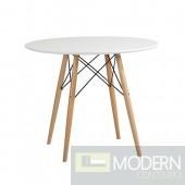 "WoodLeg Dining Table 36"" Fiberglass Top, White"