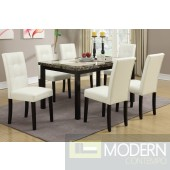 5pc Faux Polished Marble Dining Table & Cream Chairs Set  MCGSD2094/1083. Free 24 to 48hrs Inside Delivery in DMV metro area.