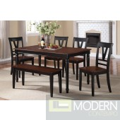5PC Cherry and black two tone country style dining table Set. MCGSD2391/134344. Free 24 to 48hrs Inside Delivery in DMV metro area.