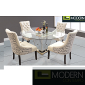 Moselle 5Pc Round Mirrored Dining Set