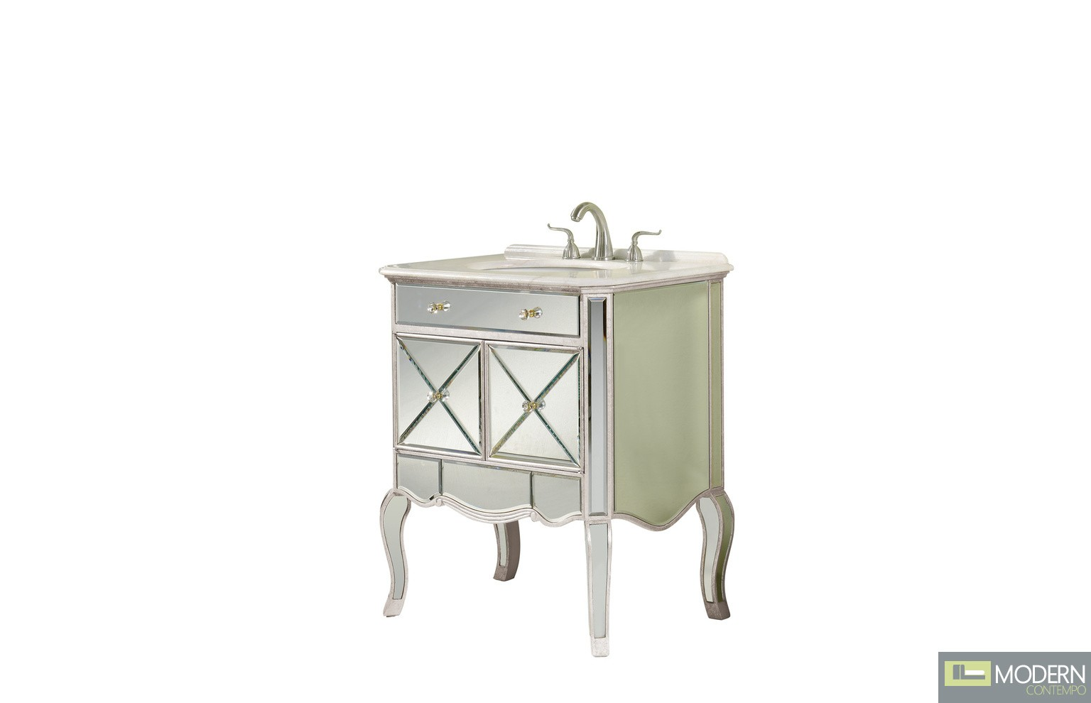 Beveled Clear Mirror  2 doors vanity cabinet 30 in. x 21 in. x 36 in. in Hand Painted Silver Leaf