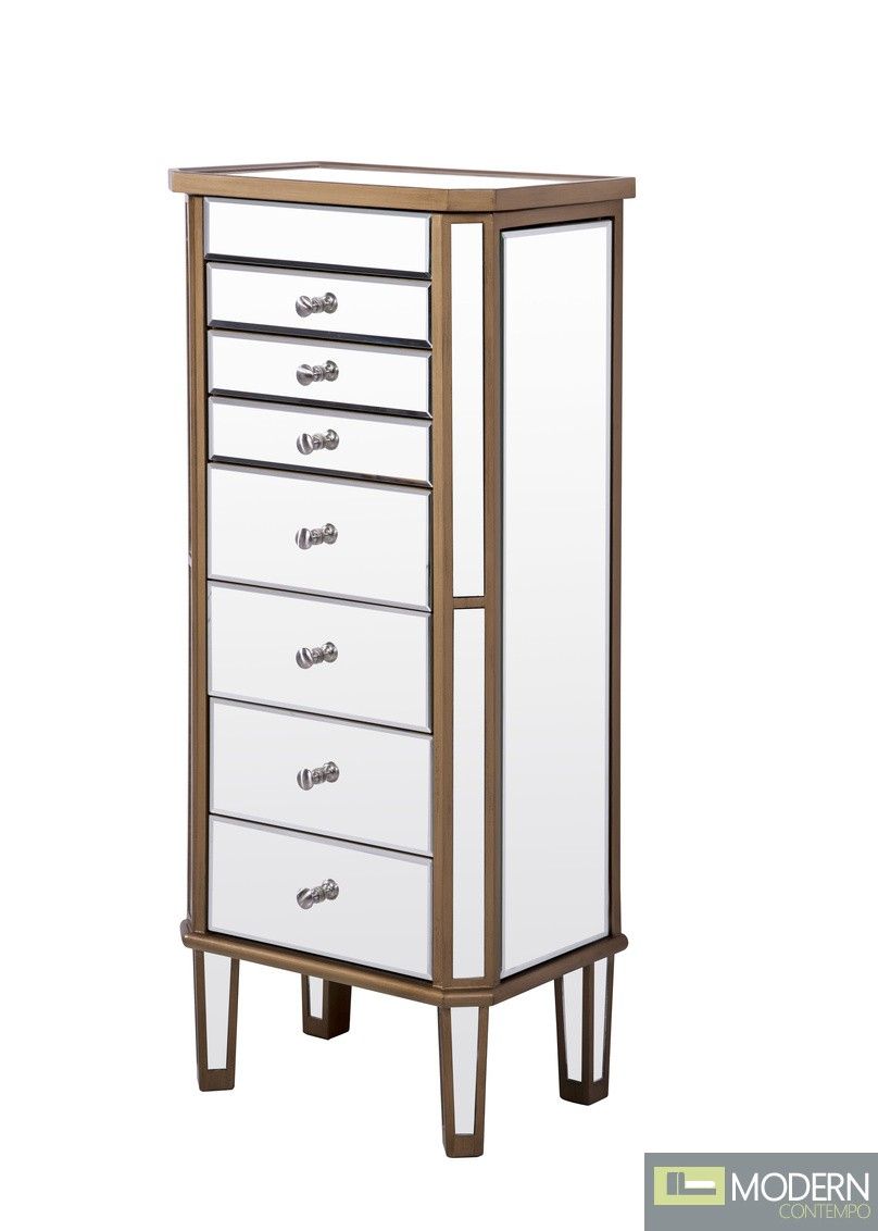 Asta 7 Drawer Jewelry Armoire GOLD