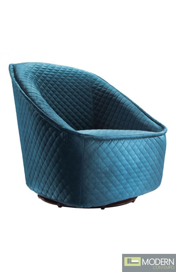 Joliet Quilted Swivel Chair Aquamarine