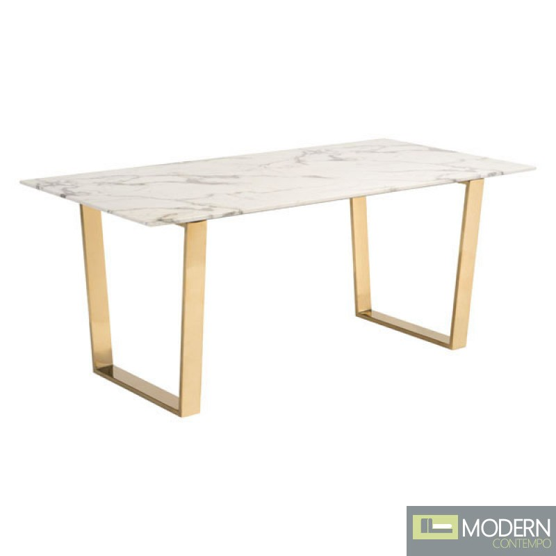 Alaska Dining Table Stone & Gold