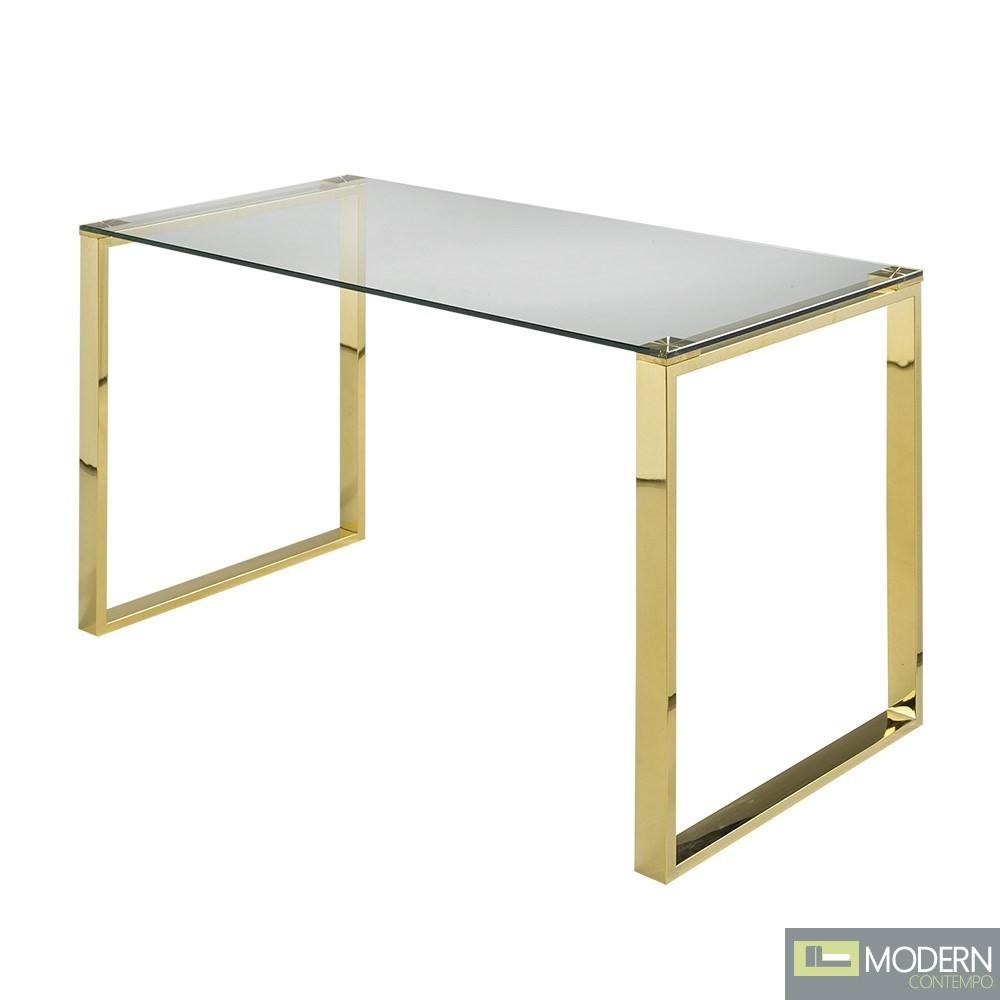 Becca Glass Office Desk GOLD