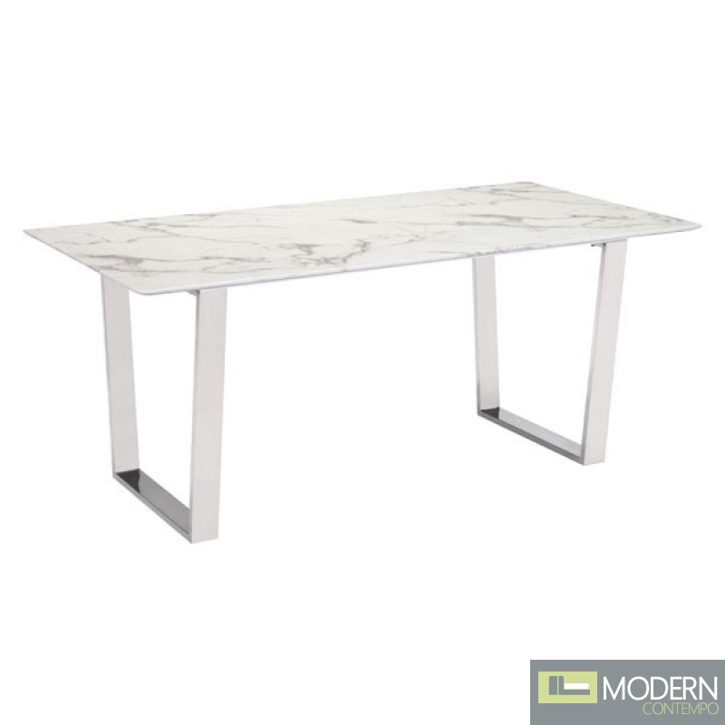 Alaska Dining Table Stone & Brushed Stainless Steel