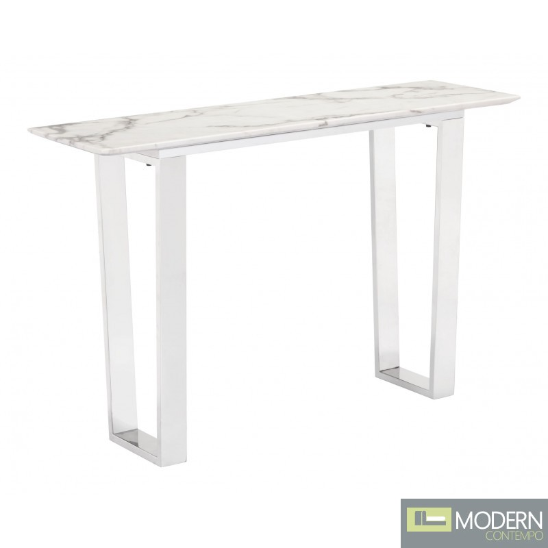 Alaska Console Table, Stone & Brushed Stainless Steel