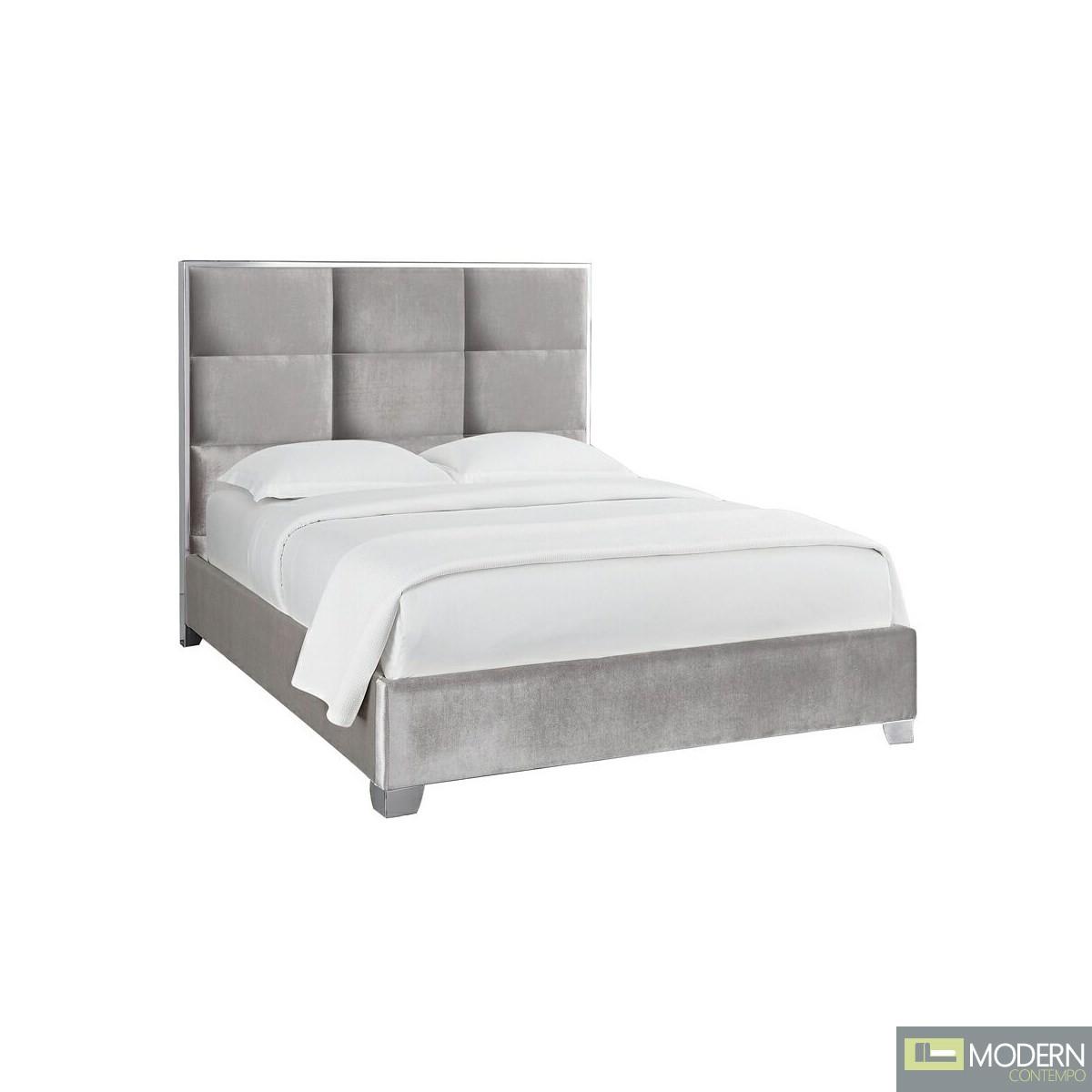 Sahara Velvet Bed in Grey Velvet