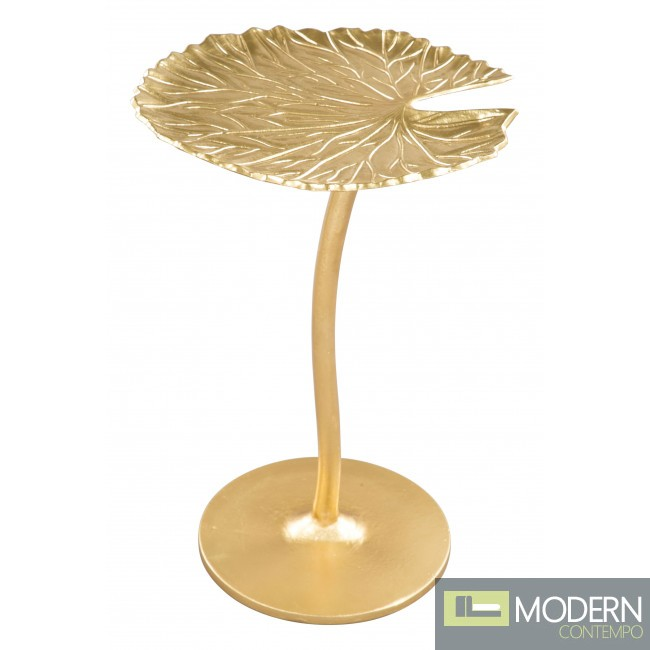 """Daisy 15"""" Wide Gold Leaf-Shaped Metal Side Table"""
