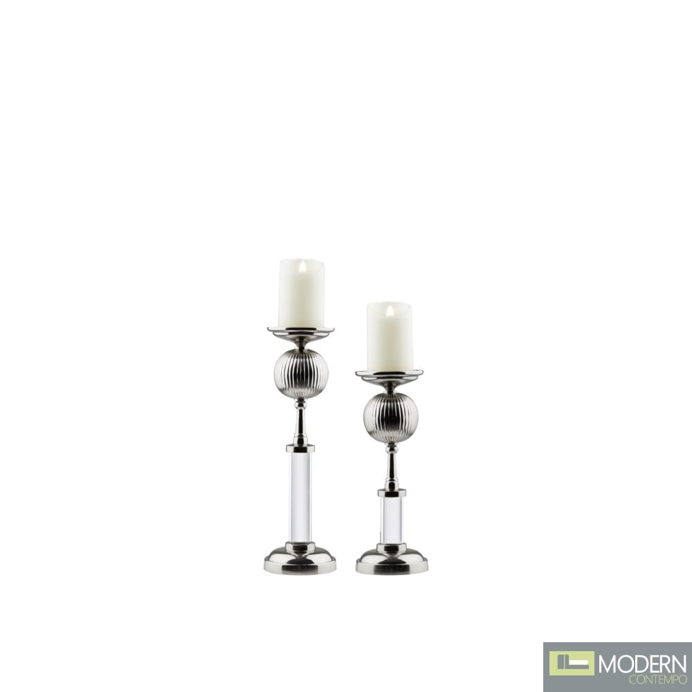 AVENA CANDLE HOLDER SILVER