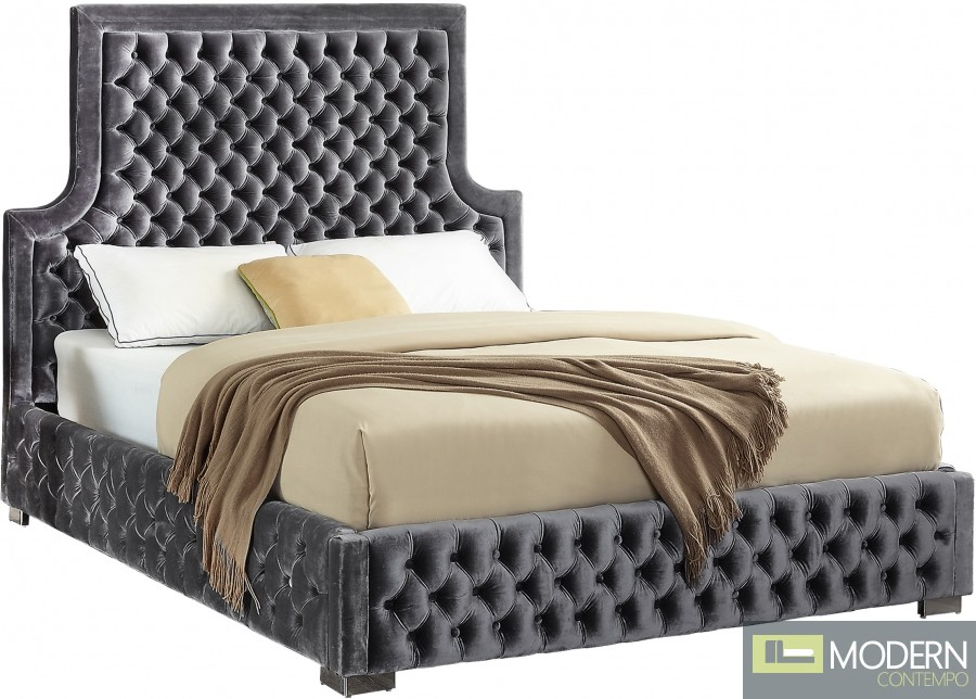 Corinne Velvet Tufted Bed GREY