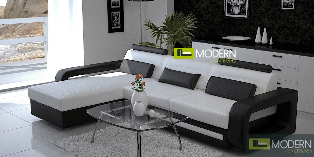 Modern Leather Sectional Sofa and Coffee table MCNV105B