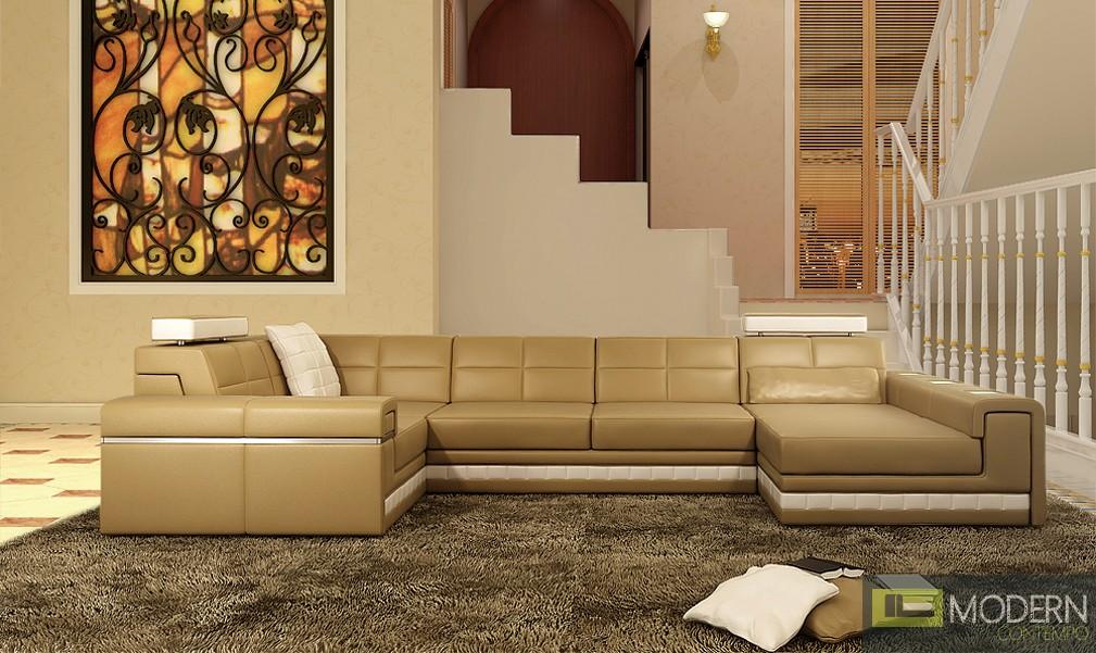 Modern Leather Sectional Sofa  MCNV108B