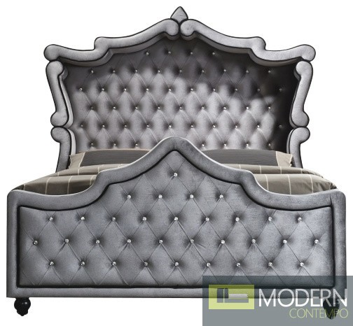 Grey Velvet Venus Canopy Bed