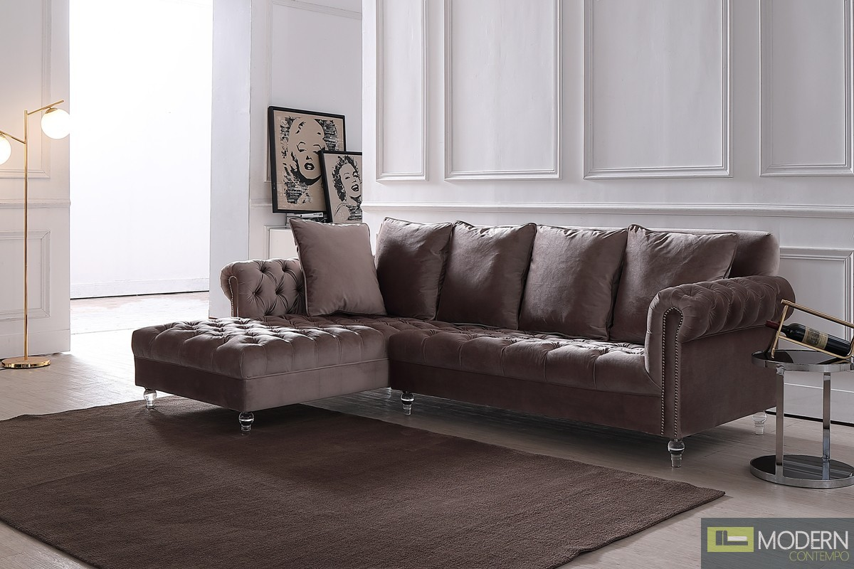 Adalene Light Grey Velvet Sectional Sofa