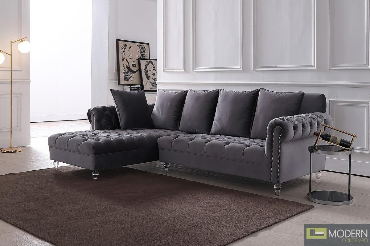 Adalene Grey Velvet Sectional Sofa