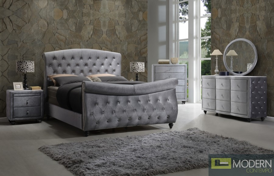 5Pc Herbet Grey Velvet Sleigh Bed Set