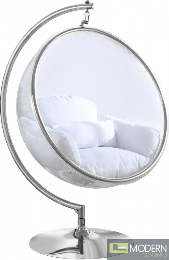 Zen SILVER Acrylic Hanging Swing Bubble Accent Chair wtih Stand WHITE (IN STOCK NOV 13th)