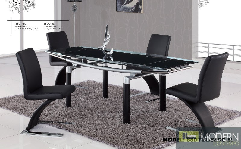 5 Pcs Contemporary Black Glass Top Dining Room Table & Chairs Set GB88DTDC