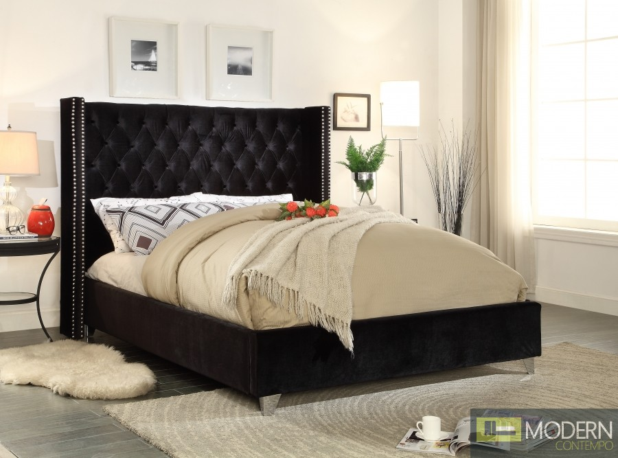 Aiden Black Velvet Platform Bed King