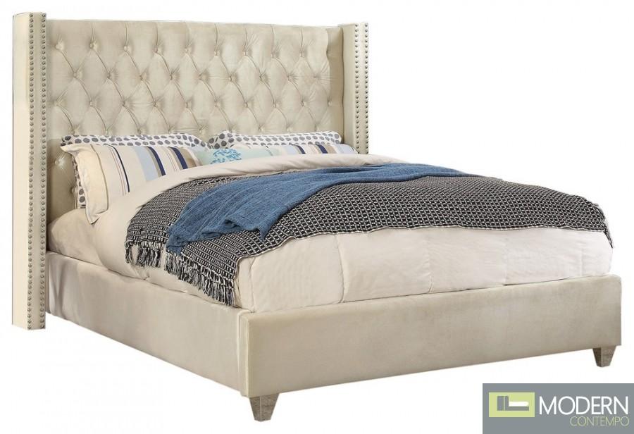 Asher Ivory Velvet Platform Bed King