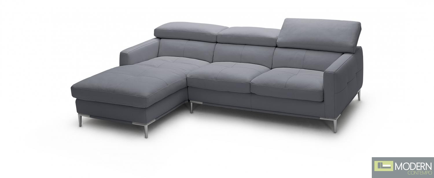 1281b Italian Leather Sectional Grey Color in Left Arm Facing
