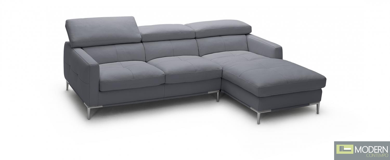 1281b Italian Leather Sectional Grey Color in Right Arm Facing