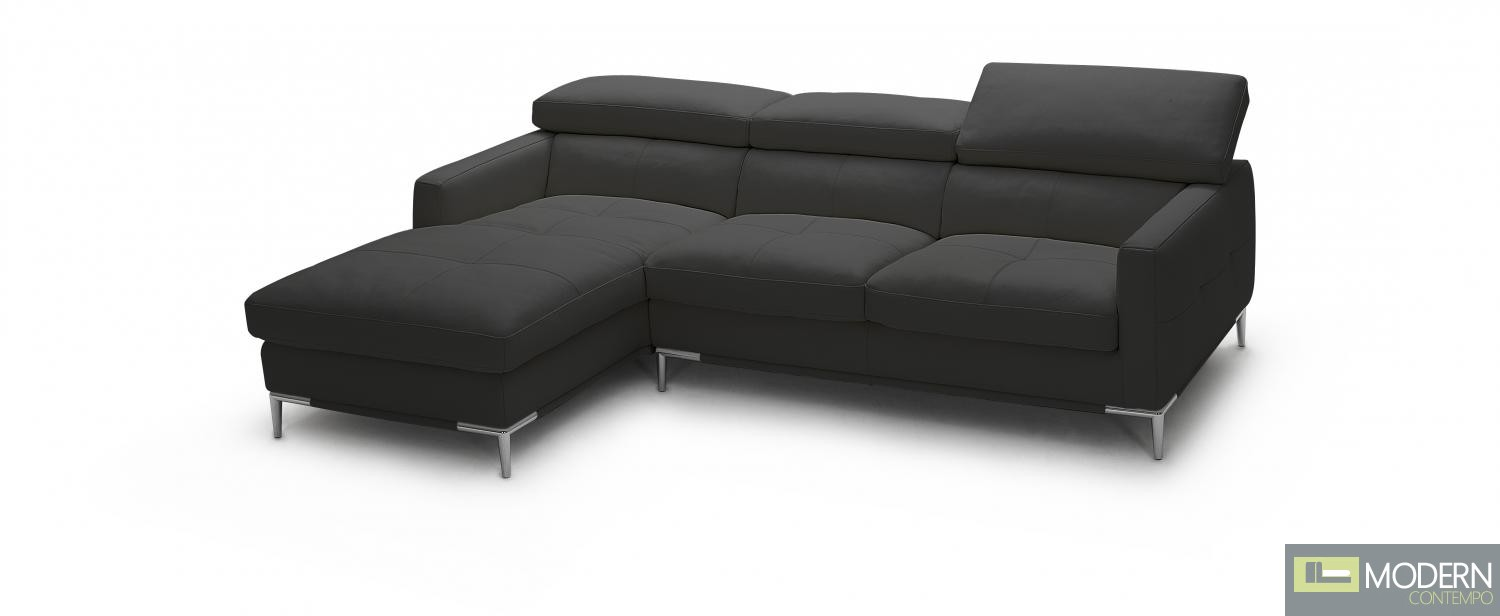 1281b Italian Leather Sectional Black Color in Left Arm Facing