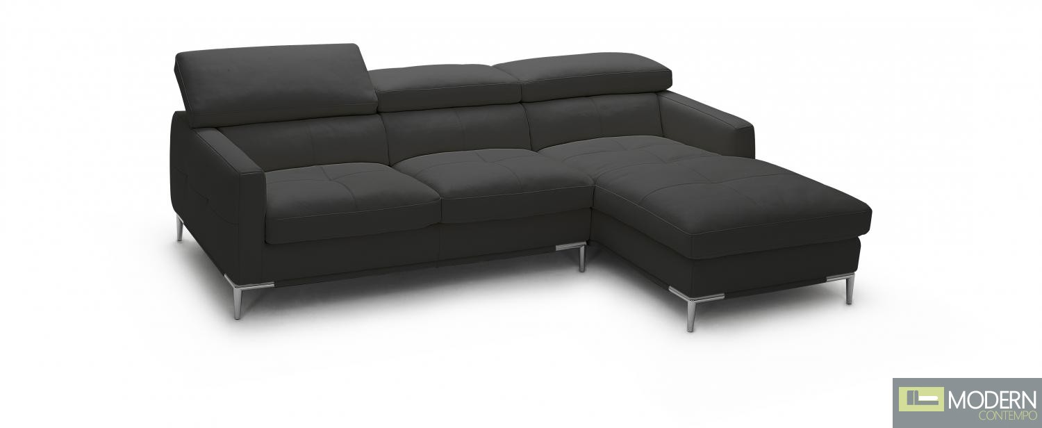 1281b Italian Leather Sectional Black Color in Right Arm Facing