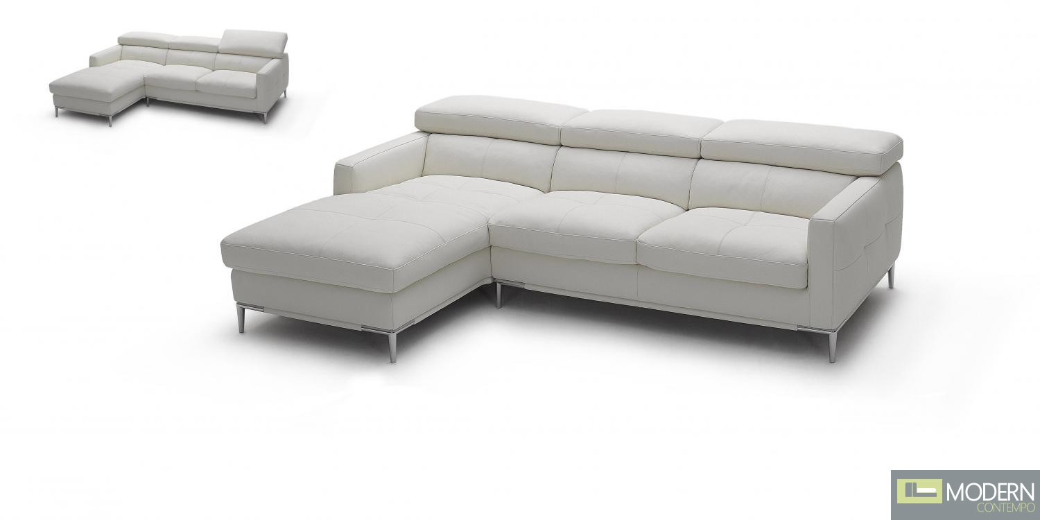 1281b Italian Leather Sectional White Color in Left Arm Facing