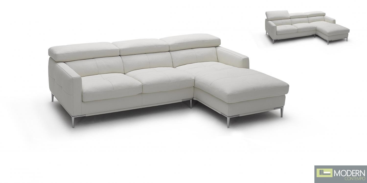 1281b Italian Leather Sectional White Color in Right Arm Facing