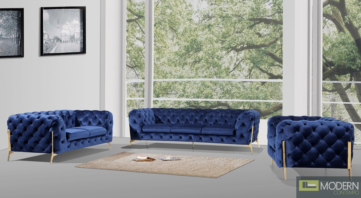 Eve Modern Dark Blue Velvet Fabric Sofa Set With Gold