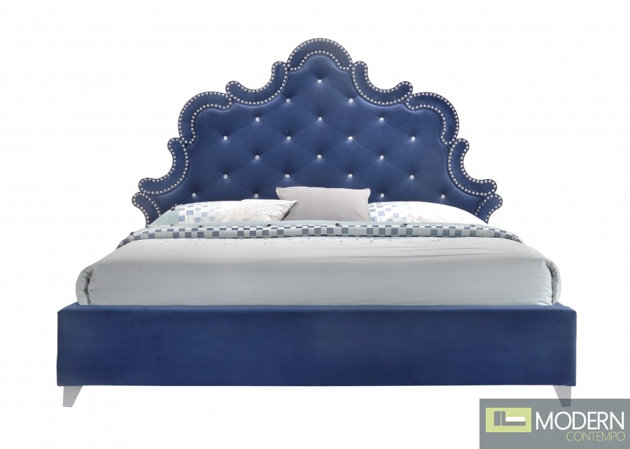 Blue Velvet King bed