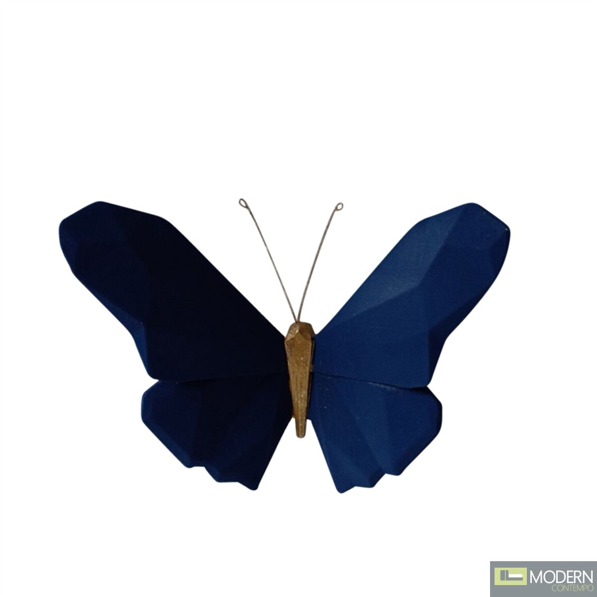 """Resin 6"""" Origami butterfly wall hanging navy"""