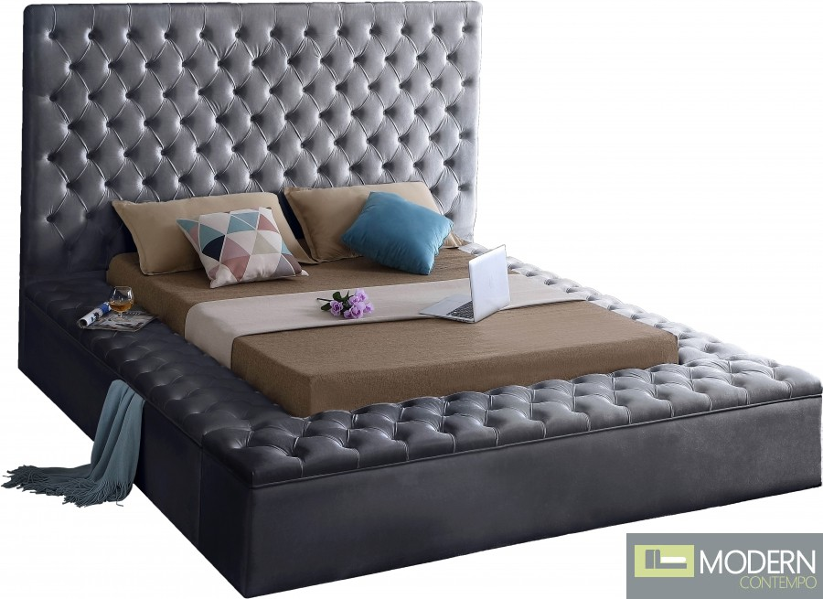 Hermes Velvet Bed with storage in footrest & side rails GREY
