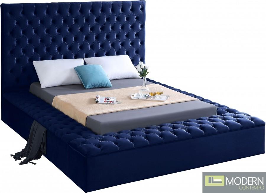 Hermes Velvet Bed with storage in footrest & side rails NAVY