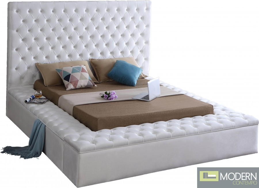 Hermes Velvet Bed with storage in footrest & side rails WHITE