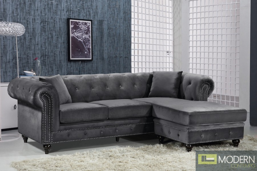 Carlo Grey Sectional Sofa and Chaise Velvet Sofa INSTORE ITEM LOCAL DMV DEALS