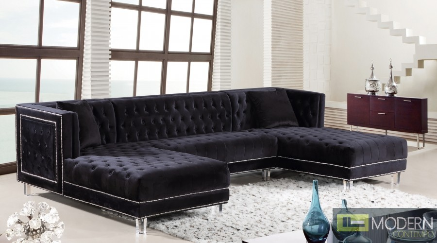 3Pc Bellissimo Black velvet Sectional sofa