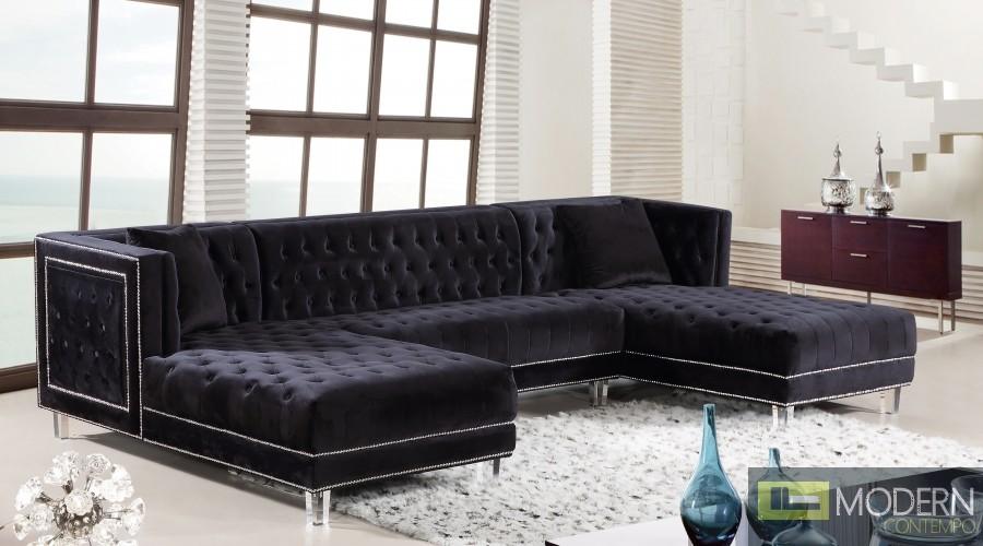 3Pc Bellissimo Black velvet Sectional sofa