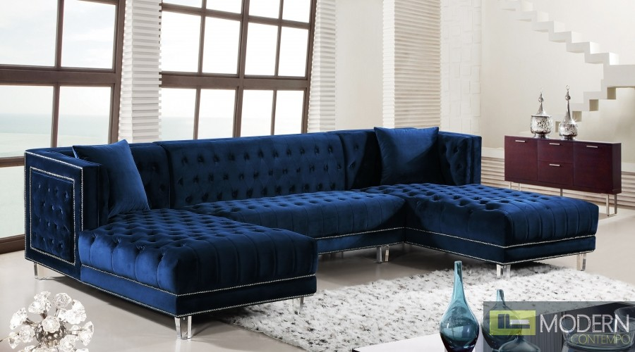3Pc Bellissimo blue velvet Sectional sofa