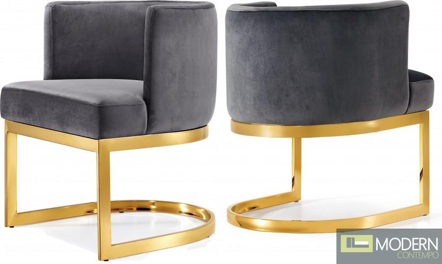 Franco Velvet armchair with gold base
