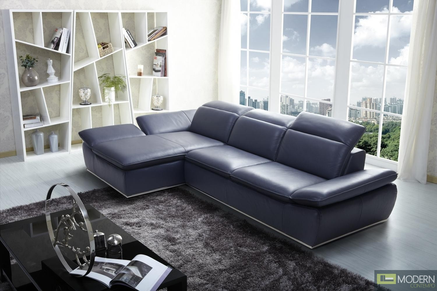 1799 Italian Modern Leather Sectional Left Hand Facing