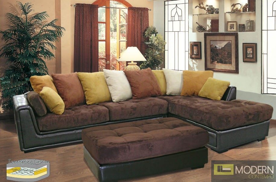 2 Pc Chocolate Soft Microfiber/ Simulate Leather Living Room Set TBQ194P1