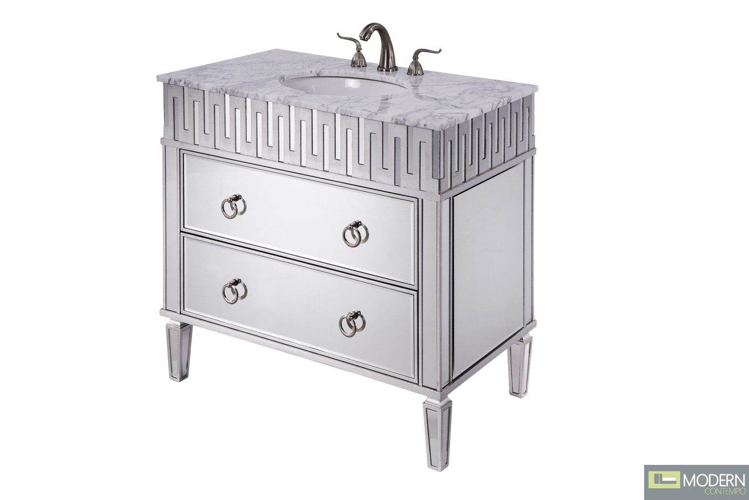 "36"" Wide Vanity Set with Cabinet, Marble Top, and Undermount Sink"