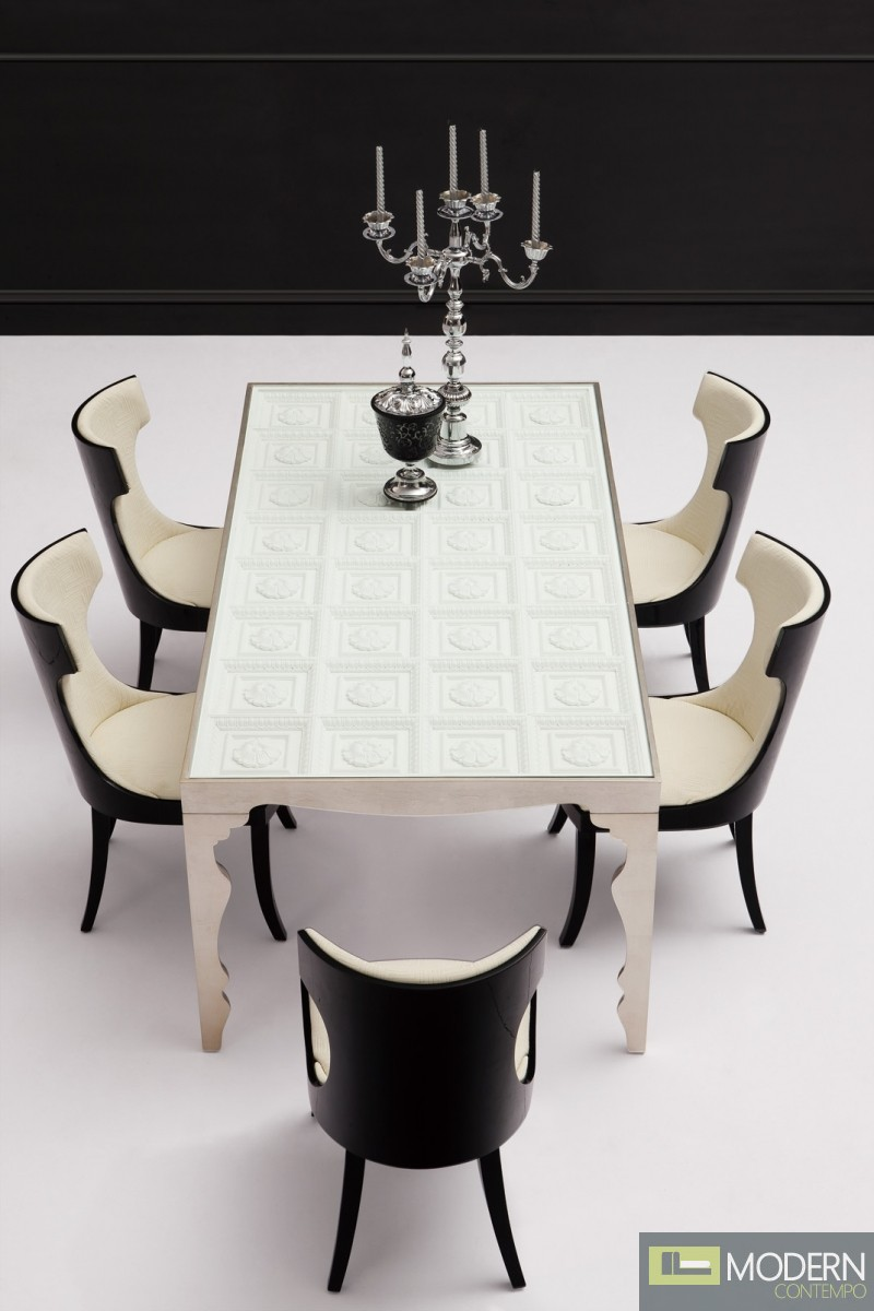 italian style contemporary dining table solid wood with tempered glass top. Black Bedroom Furniture Sets. Home Design Ideas