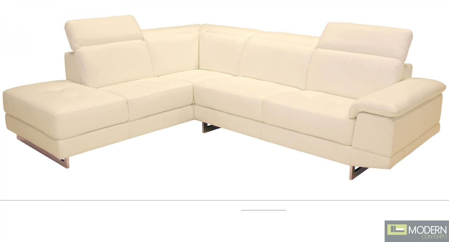 2071 Italian Leather Sectional in Left Hand Facing White
