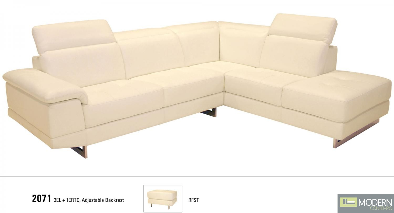 2071 Italian Leather Sectional in Right Hand Facing White