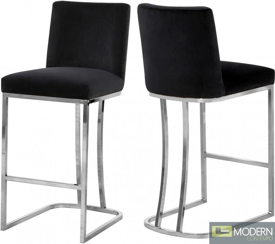 Helena velvet bar stool Chrome