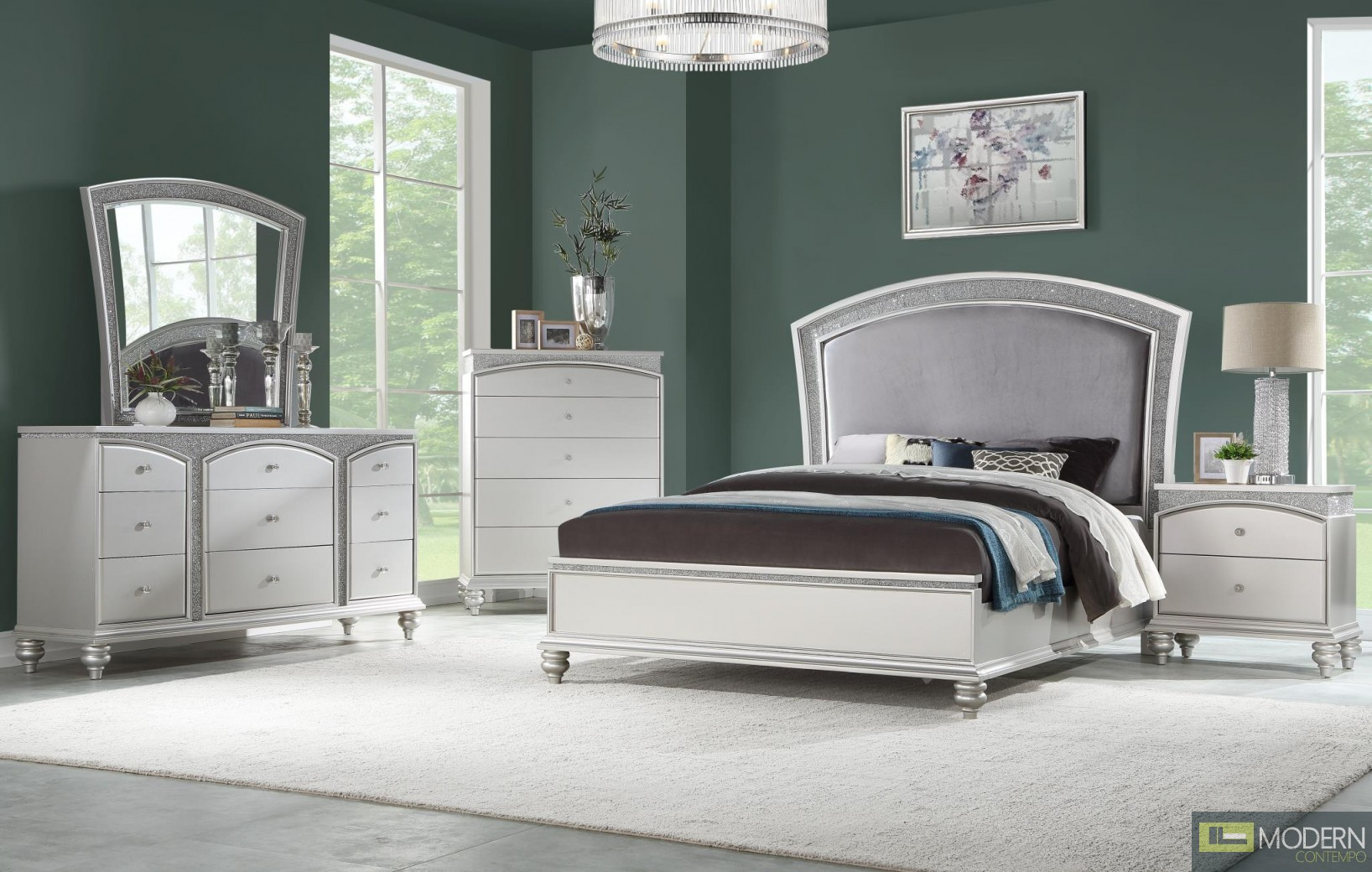 Modern Glam Style Fabric and Platinum Finish bed Set MCNJ1005